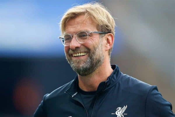 Liverpool's manager Jürgen Klopp before a preseason friendly match celebrating 125 years of football for Liverpool and Hertha BSC Berlin at the Olympic Stadium. (Pic by David Rawcliffe/Propaganda)