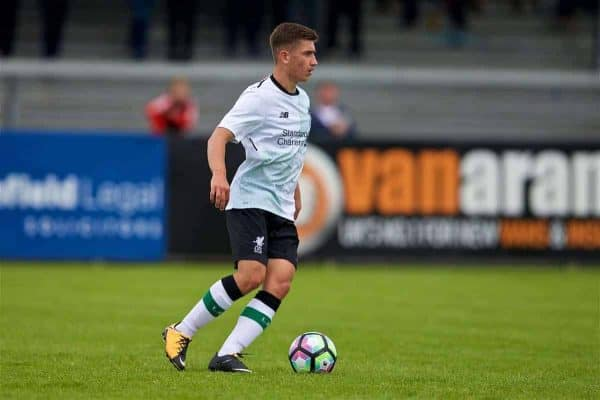 NUNEATON, ENGLAND - Saturday, July 29, 2017: Liverpool's Cameron Brannagan during a pre-season friendly between Liverpool and Coventry City at the Liberty Way Stadium. (Pic by Paul Greenwood/Propaganda)