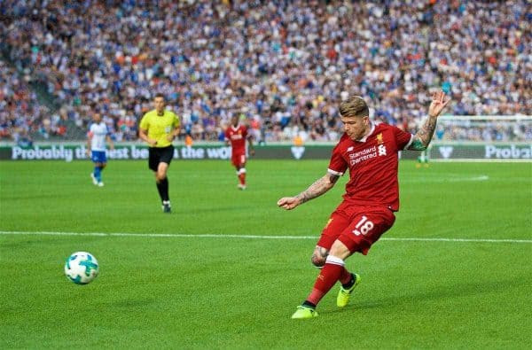 BERLIN, GERMANY - Saturday, July 29, 2017: Liverpool's Alberto Moreno during a preseason friendly match celebrating 125 years of football for Liverpool and Hertha BSC Berlin at the Olympic Stadium. (Pic by David Rawcliffe/Propaganda)