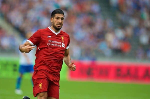 BERLIN, GERMANY - Saturday, July 29, 2017: Liverpool's Emre Can during a preseason friendly match celebrating 125 years of football for Liverpool and Hertha BSC Berlin at the Olympic Stadium. (Pic by David Rawcliffe/Propaganda)