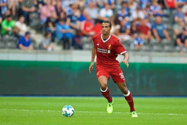 BERLIN, GERMANY - Saturday, July 29, 2017: Liverpool's Joel Matip during a preseason friendly match celebrating 125 years of football for Liverpool and Hertha BSC Berlin at the Olympic Stadium. (Pic by David Rawcliffe/Propaganda)