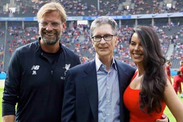 BERLIN, GERMANY - Saturday, July 29, 2017: Liverpool's manager Jürgen Klopp with club owner John W. Henry and his wife Linda Pizzuti before a preseason friendly match celebrating 125 years of football for Liverpool and Hertha BSC Berlin at the Olympic Stadium. (Pic by David Rawcliffe/Propaganda)