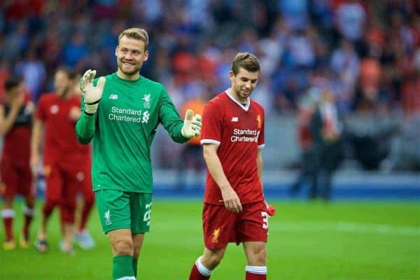BERLIN, GERMANY - Saturday, July 29, 2017: Liverpool's goalkeeper Simon Mignolet and Jon Flanagan after a preseason friendly match celebrating 125 years of football for Liverpool and Hertha BSC Berlin at the Olympic Stadium. (Pic by David Rawcliffe/Propaganda)