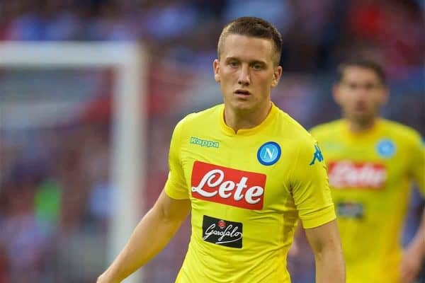 MUNICH, GERMANY - Tuesday, August 1, 2017: SSC Napoli's Piotr Zielinski during the Audi Cup 2017 match between Club S.S.C. Napoli and AtlÈtico de Madrid at the Allianz Arena. (Pic by David Rawcliffe/Propaganda)
