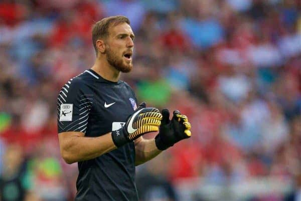 MUNICH, GERMANY - Tuesday, August 1, 2017: Atlético de Madrid's goalkeeper Jan Oblak during the Audi Cup 2017 match between Club S.S.C. Napoli and Atlético de Madrid at the Allianz Arena. (Pic by David Rawcliffe/Propaganda)