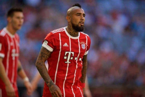 MUNICH, GERMANY - Wednesday, August 2, 2017: FC Bayern Munich's Arturo Vidal during the Audi Cup 2017 match between Club S.S.C. Napoli and FC Bayern Munich at the Allianz Arena. (Pic by David Rawcliffe/Propaganda)