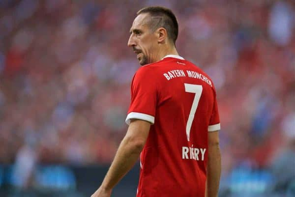 MUNICH, GERMANY - Wednesday, August 2, 2017: FC Bayern Munich's Franck Ribery, with a number seven shaved into his haircut, during the Audi Cup 2017 match between Club S.S.C. Napoli and FC Bayern Munich at the Allianz Arena. (Pic by David Rawcliffe/Propaganda)