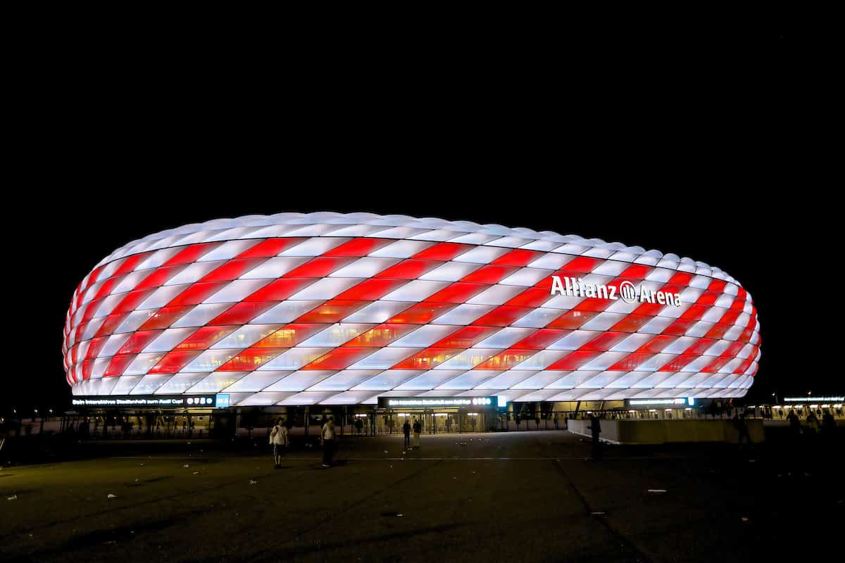 MUNICH, GERMANY - Wednesday, August 2, 2017: An. exterior view of the Allianz Arena in red and white after the Audi Cup 2017 final match between Liverpool FC and Atlético de Madrid's at the Allianz Arena. (Pic by David Rawcliffe/Propaganda)