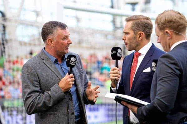 DUBLIN, REPUBLIC OF IRELAND - Saturday, August 5, 2017: Former Liverpool players John Aldridge and Jason McAteer, working for LFC TV, before a preseason friendly match between Athletic Club Bilbao and Liverpool at the Aviva Stadium. (Pic by David Rawcliffe/Propaganda)
