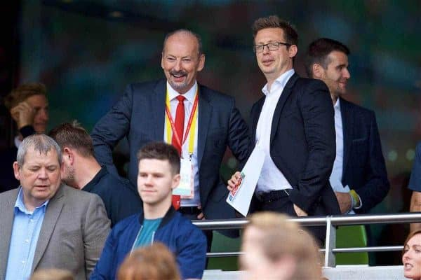 DUBLIN, REPUBLIC OF IRELAND - Saturday, August 5, 2017: Liverpool's chief executive officer Peter Moore and sporting director Michael Edwards before a preseason friendly match between Athletic Club Bilbao and Liverpool at the Aviva Stadium. (Pic by David Rawcliffe/Propaganda)
