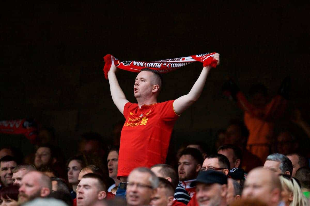 DUBLIN, REPUBLIC OF IRELAND - Saturday, August 5, 2017: A Liverpool supporter during a preseason friendly match between Athletic Club Bilbao and Liverpool at the Aviva Stadium. (Pic by David Rawcliffe/Propaganda)