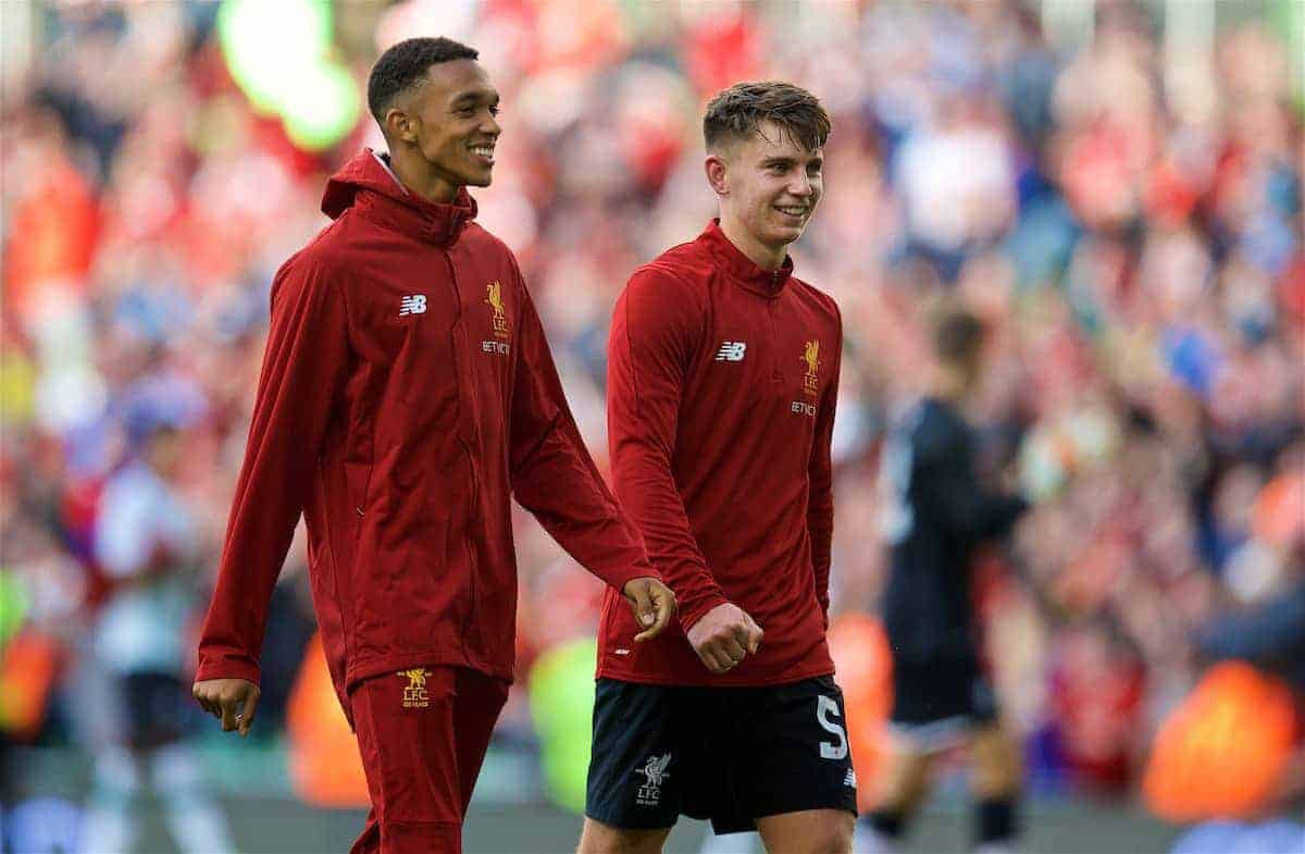 DUBLIN, REPUBLIC OF IRELAND - Saturday, August 5, 2017: Liverpool's Trent Alexander-Arnold and Ben Woodburn after a preseason friendly match between Athletic Club Bilbao and Liverpool at the Aviva Stadium. (Pic by David Rawcliffe/Propaganda)
