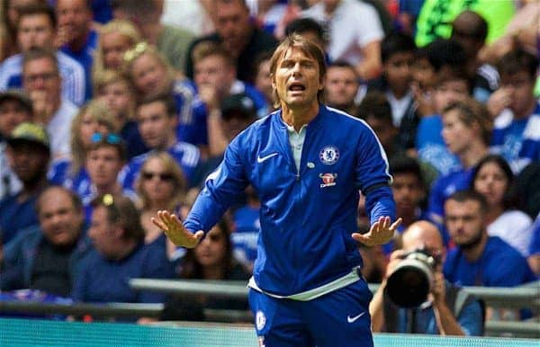 LONDON, ENGLAND - Sunday, August 6, 2017: Chelsea's manager Antonio Conte during the FA Community Shield match between Arsenal and Chelsea at Wembley Stadium. (Pic by David Rawcliffe/Propaganda)