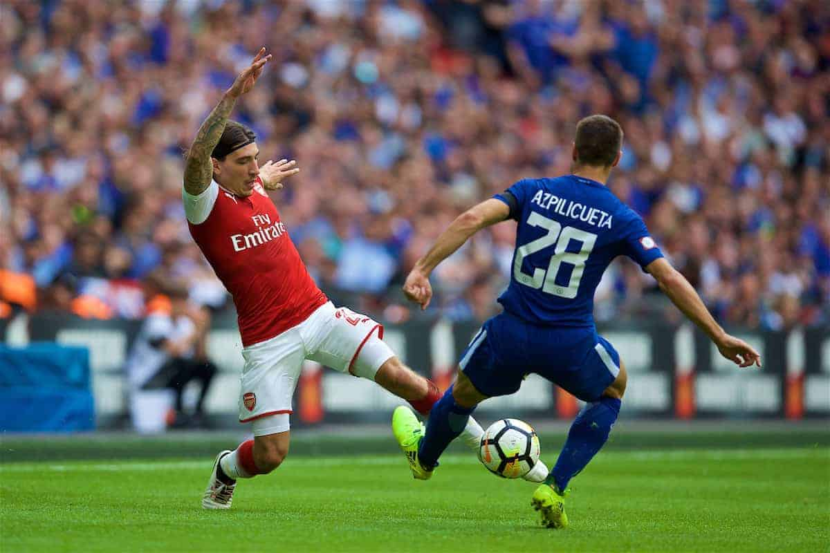 LONDON, ENGLAND - Sunday, August 6, 2017: Arsenal's Hector Bellerin during the FA Community Shield match between Arsenal and Chelsea at Wembley Stadium. (Pic by David Rawcliffe/Propaganda)
