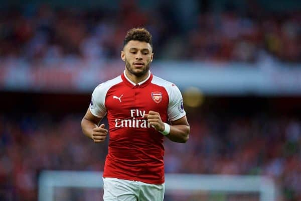 LONDON, ENGLAND - Friday, August 11, 2017: Arsenal's Alex Oxlade-Chamberlain during the FA Premier League match between Arsenal and Leicester City at the Emirates Stadium. (Pic by David Rawcliffe/Propaganda)