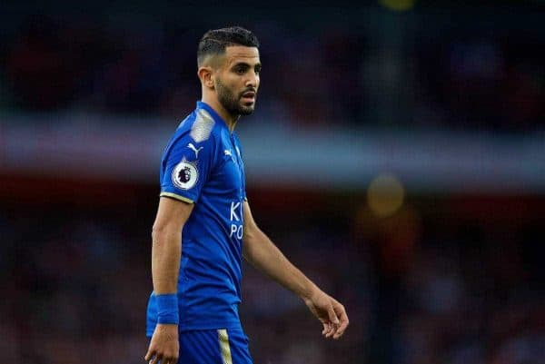 Leicester City's Riyad Mahrez during the FA Premier League match between Arsenal and Leicester City at the Emirates Stadium. (Pic by David Rawcliffe/Propaganda)