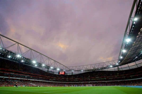 LONDON, ENGLAND - Friday, August 11, 2017: Arsenal take on Leicester City during the FA Premier League match between Arsenal and Leicester City at the Emirates Stadium. (Pic by David Rawcliffe/Propaganda)