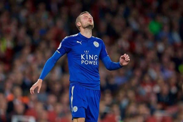 LONDON, ENGLAND - Friday, August 11, 2017: Leicester City's Jamie Vardy looks dejected as Arsenal score the winning fouth goal to seal a 4-3 victory during the FA Premier League match between Arsenal and Leicester City at the Emirates Stadium. (Pic by David Rawcliffe/Propaganda)