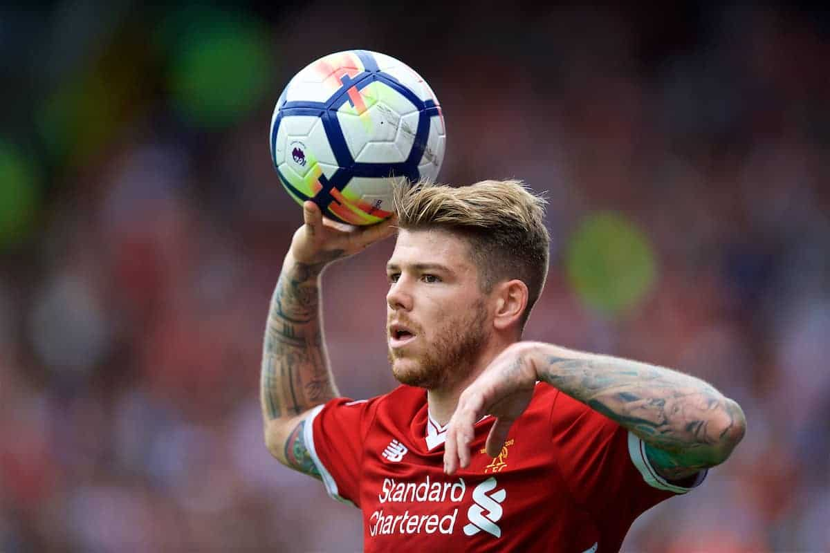 WATFORD, ENGLAND - Saturday, August 12, 2017: Liverpool's Alberto Moreno takes a throw-in during the FA Premier League match between Watford and Liverpool at Vicarage Road. (Pic by David Rawcliffe/Propaganda)