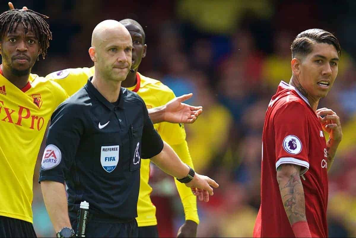 WATFORD, ENGLAND - Saturday, August 12, 2017: Referee Anthony Taylor points to the spot to award Liverpool a penalty as Watford's Nathaniel Chalobah protests during the FA Premier League match between Watford and Liverpool at Vicarage Road. (Pic by David Rawcliffe/Propaganda)