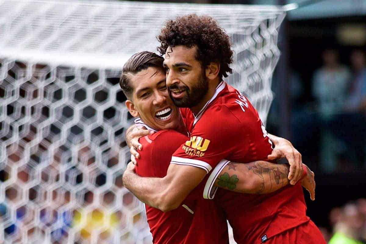 WATFORD, ENGLAND - Saturday, August 12, 2017: Liverpool's Mohamed Salah celebrates scoring the third goal with team-mate Roberto Firmino during the FA Premier League match between Watford and Liverpool at Vicarage Road. (Pic by David Rawcliffe/Propaganda)