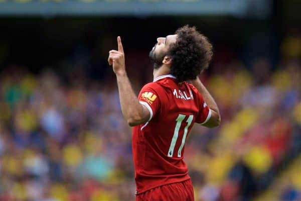 WATFORD, ENGLAND - Saturday, August 12, 2017: Liverpool's Mohamed Salah prays as he celebrates scoring the third goal during the FA Premier League match between Watford and Liverpool at Vicarage Road. Georginio Wijnaldum, captain Jordan Henderson, Sadio Mane, Alberto Moreno, Emre Can, Roberto Firmino. (Pic by David Rawcliffe/Propaganda)