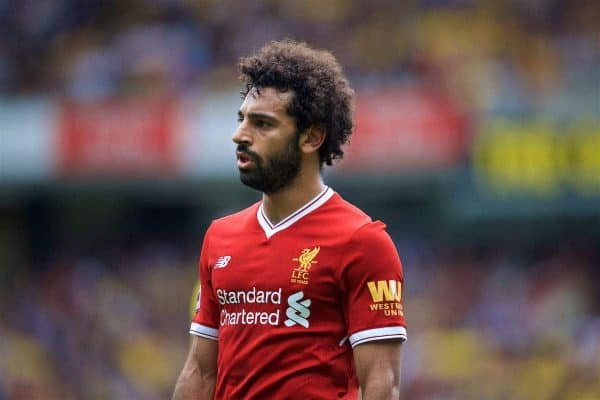 WATFORD, ENGLAND - Saturday, August 12, 2017: Liverpool's Mohamed Salah during the FA Premier League match between Watford and Liverpool at Vicarage Road. (Pic by David Rawcliffe/Propaganda)