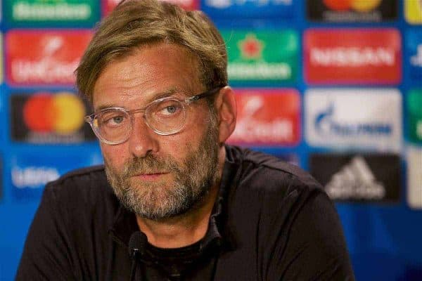 SINSHEIM, GERMANY - Monday, August 14, 2017: Liverpool's manager Jürgen Klopp during a press conference ahead of the UEFA Champions League Play-Off 1st Leg match against TSG 1899 Hoffenheim at the Rhein-Neckar-Arena. (Pic by David Rawcliffe/Propaganda)