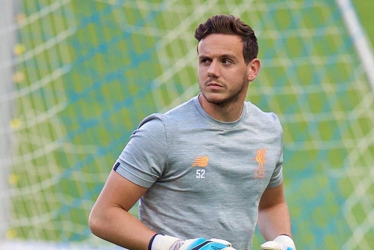SINSHEIM, GERMANY - Monday, August 14, 2017: Liverpool's goalkeeper Danny Ward during a training session ahead of the UEFA Champions League Play-Off 1st Leg match against TSG 1899 Hoffenheim at the Rhein-Neckar-Arena. (Pic by David Rawcliffe/Propaganda)