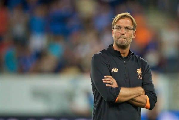 SINSHEIM, GERMANY - Tuesday, August 15, 2017: Liverpool's manager Jürgen Klopp before the UEFA Champions League Play-Off 1st Leg match between TSG 1899 Hoffenheim and Liverpool at the Rhein-Neckar-Arena. (Pic by David Rawcliffe/Propaganda)