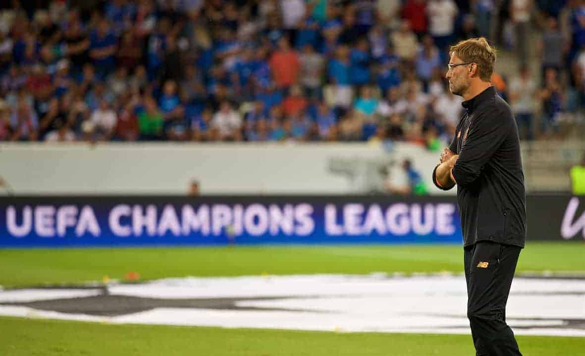 SINSHEIM, GERMANY - Tuesday, August 15, 2017: Liverpool's manager J¸rgen Klopp before the UEFA Champions League Play-Off 1st Leg match between TSG 1899 Hoffenheim and Liverpool at the Rhein-Neckar-Arena. (Pic by David Rawcliffe/Propaganda)