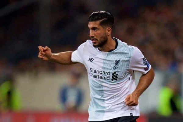 SINSHEIM, GERMANY - Tuesday, August 15, 2017: Liverpool's Emre Can during the UEFA Champions League Play-Off 1st Leg match between TSG 1899 Hoffenheim and Liverpool at the Rhein-Neckar-Arena. (Pic by David Rawcliffe/Propaganda)
