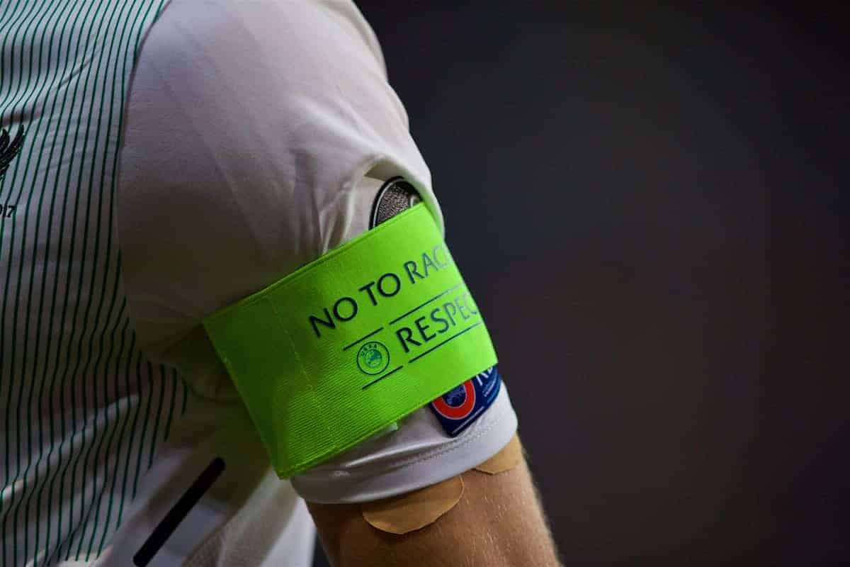 "SINSHEIM, GERMANY - Tuesday, August 15, 2017: The captain's armband of Liverpool's James Milner with ""No to racism"" and ""respect"" during the UEFA Champions League Play-Off 1st Leg match between TSG 1899 Hoffenheim and Liverpool at the Rhein-Neckar-Arena. (Pic by David Rawcliffe/Propaganda)"