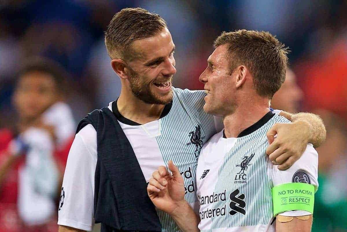SINSHEIM, GERMANY - Tuesday, August 15, 2017: Liverpool's goal-scorer James Milner and captain Jordan Henderson after beating TSG 1899 Hoffenheim 2-1 during the UEFA Champions League Play-Off 1st Leg match between TSG 1899 Hoffenheim and Liverpool at the Rhein-Neckar-Arena. (Pic by David Rawcliffe/Propaganda)