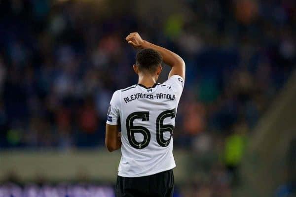 SINSHEIM, GERMANY - Tuesday, August 15, 2017: Liverpool's goal-scorer Trent Alexander-Arnold salutes the travelling supporters after beating TSG 1899 Hoffenheim 2-1 during the UEFA Champions League Play-Off 1st Leg match between TSG 1899 Hoffenheim and Liverpool at the Rhein-Neckar-Arena. (Pic by David Rawcliffe/Propaganda)