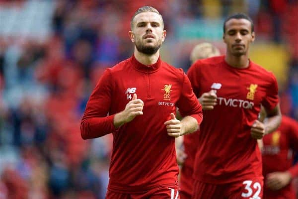 LIVERPOOL, ENGLAND - Saturday, August 19, 2017: Liverpool's captain Jordan Henderson warms-up before the FA Premier League match between Liverpool and Crystal Palace at Anfield. (Pic by David Rawcliffe/Propaganda)
