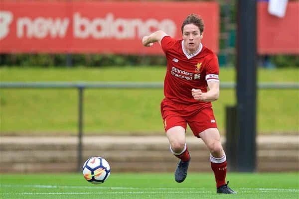 KIRKBY, ENGLAND - Saturday, August 19, 2017: Liverpool's captain Liam Coyle during an Under-18 FA Premier League match between Liverpool and Blackburn Rovers at the Kirkby Academy. (Pic by David Rawcliffe/Propaganda)