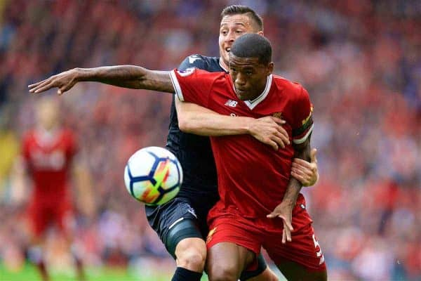 LIVERPOOL, ENGLAND - Saturday, August 19, 2017: Liverpool's Georginio Wijnaldum and Crystal Palace's Joel Ward during the FA Premier League match between Liverpool and Crystal Palace at Anfield. (Pic by David Rawcliffe/Propaganda)