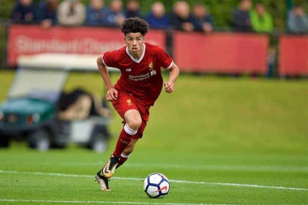 KIRKBY, ENGLAND - Saturday, August 19, 2017: Liverpool's Curtis Jones during an Under-18 FA Premier League match between Liverpool and Blackburn Rovers at the Kirkby Academy. (Pic by David Rawcliffe/Propaganda)