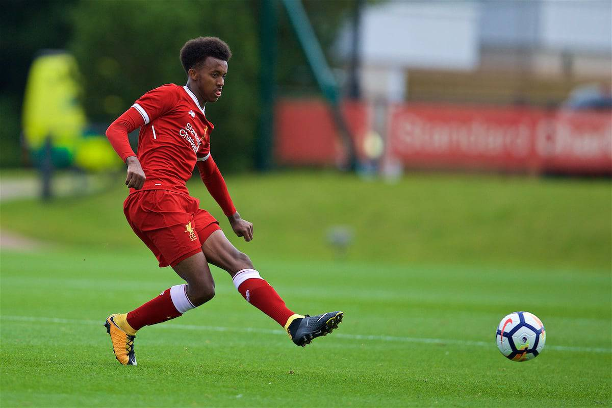 KIRKBY, ENGLAND - Saturday, August 19, 2017: Liverpool's Abdi Sharif during an Under-18 FA Premier League match between Liverpool and Blackburn Rovers at the Kirkby Academy. (Pic by David Rawcliffe/Propaganda)