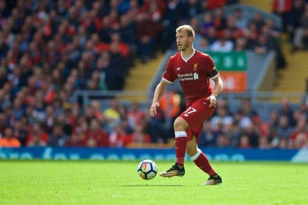LIVERPOOL, ENGLAND - Saturday, August 19, 2017: Liverpool's Ragnar Klavan during the FA Premier League match between Liverpool and Crystal Palace at Anfield. (Pic by David Rawcliffe/Propaganda)