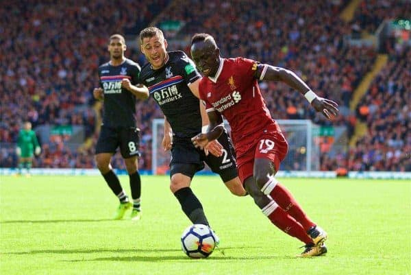LIVERPOOL, ENGLAND - Saturday, August 19, 2017: Liverpool's Sadio Mane during the FA Premier League match between Liverpool and Crystal Palace at Anfield. (Pic by David Rawcliffe/Propaganda)