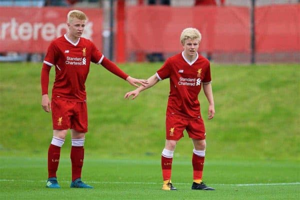 KIRKBY, ENGLAND - Saturday, August 19, 2017: Liverpool's Luis Longstaff and Edvard Sandvik Tagseth during an Under-18 FA Premier League match between Liverpool and Blackburn Rovers at the Kirkby Academy. (Pic by David Rawcliffe/Propaganda)