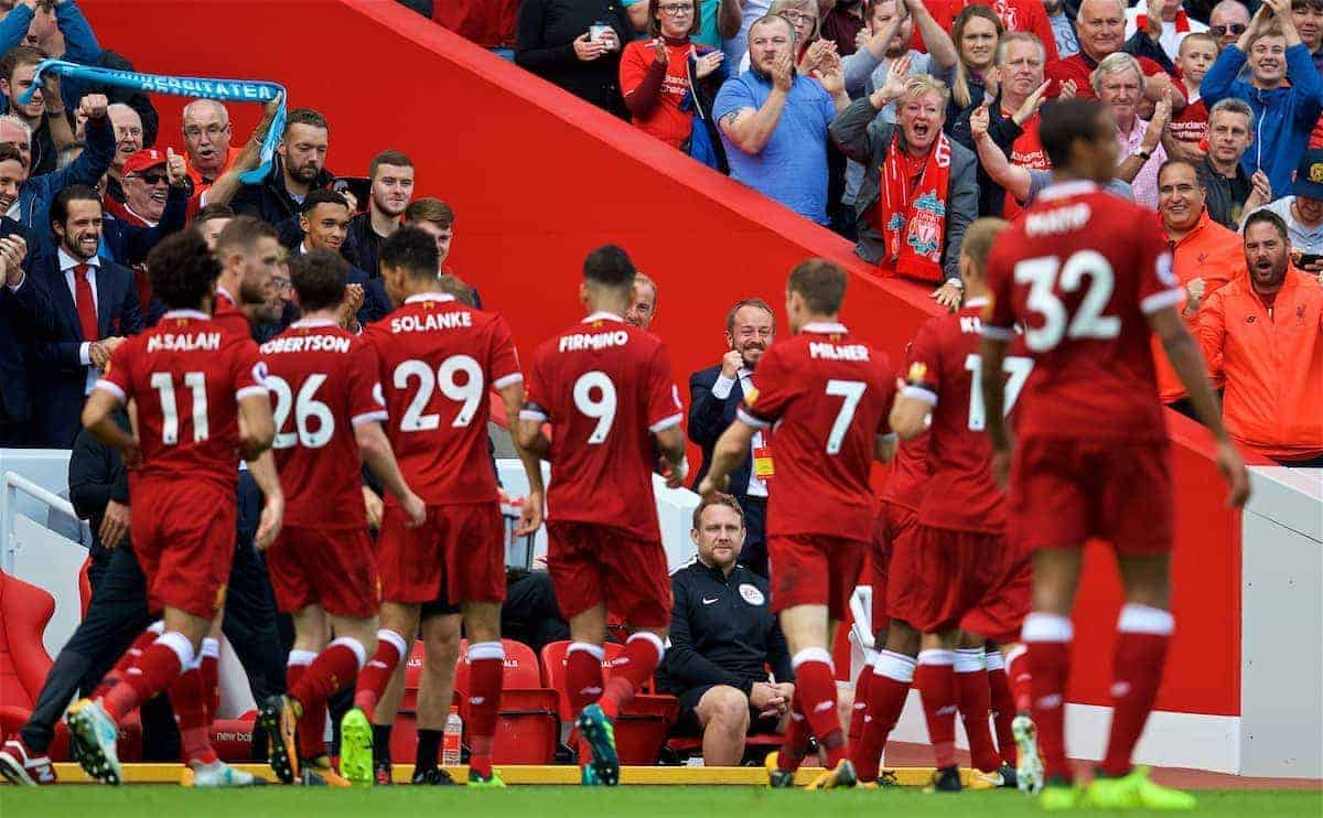 LIVERPOOL, ENGLAND - Saturday, August 19, 2017: Liverpool's press officer Matt McCann celebrates a goal during the FA Premier League match between Liverpool and Crystal Palace at Anfield. (Pic by David Rawcliffe/Propaganda)