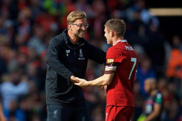 LIVERPOOL, ENGLAND - Saturday, August 19, 2017: Liverpool's manager Jürgen Klopp celebrates the 1-0 victory with James Milner during the FA Premier League match between Liverpool and Crystal Palace at Anfield. (Pic by David Rawcliffe/Propaganda)