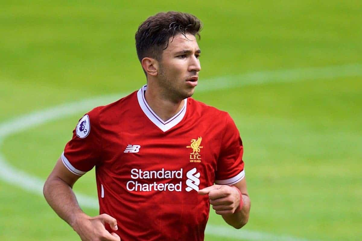 BIRKENHEAD, ENGLAND - Sunday, August 20, 2017: Liverpool's Marko Grujic during the Under-23 FA Premier League 2 Division 1 match between Liverpool and Sunderland at Prenton Park. (Pic by David Rawcliffe/Propaganda)
