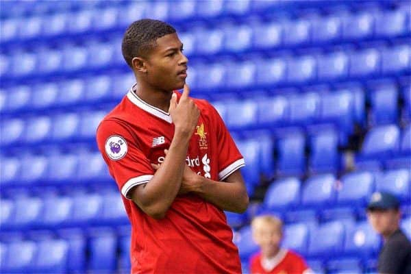 BIRKENHEAD, ENGLAND - Sunday, August 20, 2017: Liverpool's Rhian Brewster celebrates scoring the second goal during the Under-23 FA Premier League 2 Division 1 match between Liverpool and Sunderland at Prenton Park. (Pic by David Rawcliffe/Propaganda)
