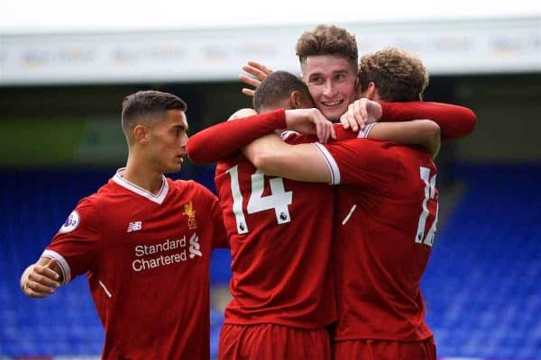BIRKENHEAD, ENGLAND - Sunday, August 20, 2017: Liverpool's Matty Virtue [#12] celebrates scoring the third goal with team-mates Rhian Brewster [#14] and captain Corey Whelan during the Under-23 FA Premier League 2 Division 1 match between Liverpool and Sunderland at Prenton Park. (Pic by David Rawcliffe/Propaganda)