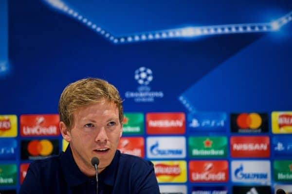 LIVERPOOL, ENGLAND - Tuesday, August 22, 2017: TSG 1899 Hoffenheim's head coach Julian Nagelsmann during a press conference at Anfield ahead of the UEFA Champions League Play-Off 2nd Leg match against Liverpool. (Pic by David Rawcliffe/Propaganda)