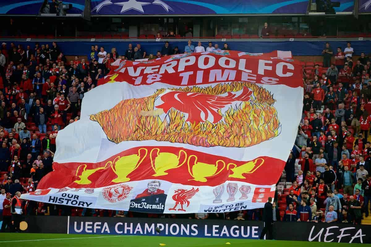 LIVERPOOL, ENGLAND - Wednesday, August 23, 2017: A huge Liverpool banner is passed along by supporters in the Centenary Stand before the UEFA Champions League Play-Off 2nd Leg match between Liverpool and TSG 1899 Hoffenheim at Anfield. (Pic by David Rawcliffe/Propaganda)